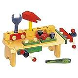 Small Foot by Legler Werkbank aus Holz, kleine Ausführung mit allerlei Zubehör, für großen Spaß beim Schrauben und Hämmern, zur Schulung der motorischen Fähigkeiten, begeistert kleine Handwerker ab 3 Jahren