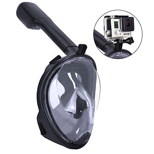 HTIANC Masque de Plongée Schnorkel Plein Visage avec Vision Panoramique à 180°, Masque de Plongée avec Tuba en PC et Silicone Doux non Toxique Anti-Buée et Anti-Fuite pour GoPro(Noir)