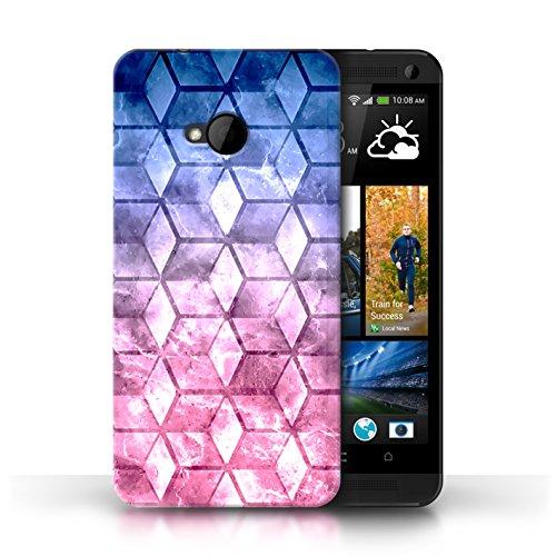 Etui / Coque pour HTC One/1 M7 / Bleu/verd conception / Collection de Cubes colorés Bleu/rose