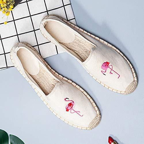 YOPAIYA Espadrilles Fischer Schuhe Mode Sommer Frauen Beige Flamingo Muster Müßiggänger Damenschuhe Mode Flache Schuhe Frauen Segeltuchschuhe Fischerschuhe, 37 Army Navy Schuhe