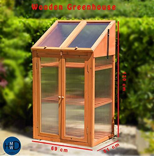 HMWD Mini-Gewächshaus mit Doppeltür, aus Holz, mit Polykarbonat-Verglasung, 120 x 69 x 51 cm