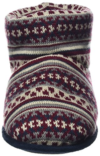 Totes Mens Fairisle Knit Bootie Slippers, Chaussons Montants Homme Multicolore (Navy/berry)
