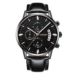 KASHIDUN Mens Watches Casual Quartz Wrist Watches Luminous Waterproof Calendar Date-Black Dial.TL-JzHP