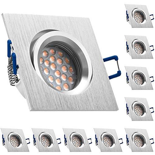 10er LED Einbaustrahler Set Bicolor (chrom/gebürstet) mit LED GU10 Markenstrahler von LEDANDO - 5W - warmweiss - 60° Abstrahlwinkel - schwenkbar - 50W Ersatz - A+ - LED Spot 5 Watt - Einbauleuchte