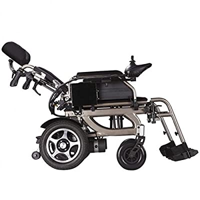 Foldable Electric Power Wheelchair with Reclinable Backrest, Adjustable Headrest & Polymer Li-ion Battery. Foldawheel PW-777PL