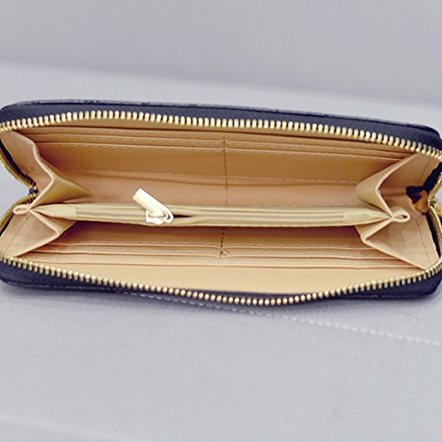 Damen PU Quaste Reißverschluss Mappe Lange Muster Handtasche Handtasche Multicolor Black