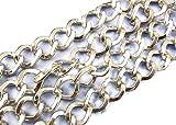 2 m con catena a maglia argentata 7 x 8 mm