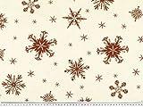 ab 1m: Weihnachtsstoff, Eiskristalle, natur-rot, 160cm