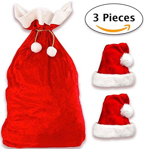 Deluxe Weihnachtssack + 2 Weihnachtsmütze in Plüsch | XXL Nikolaussack Weihnachtsmann Sack Santa Sack Geschenkesack Weihnachtsmannsack für Geschenke + 2 Nikolausmütze Weihnachtsmann Mütze Rot (Schal Gestreiften Grün)