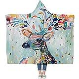 DOTBUY Decke Mit Kapuze Kuscheldecke, Plüschdecke Pelzdecke Decken mit Hoodie 3D Stil Design für Erwachsene Kind Couch Sofa oder Bett (200 x 150cm, E)