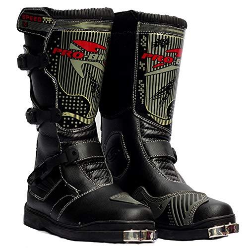 MERRYHE Herren High Top Motorradstiefel Anti Slip Motorrad Gepanzerte Stiefel Wasserdichte Cruiser Boot Warme Schutz Schuhe,Black-42