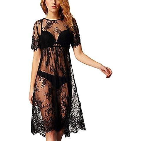 JXLOULAN Vestidos Negro de encaje para mujer hueco de la manera de costura del vestido del delantal de la playa del