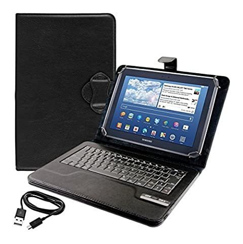 kwmobile Hülle mit QWERTY Tastatur für Samsung Galaxy Note 10.1 mit Ständer - Kunstleder Tablet Schutzhülle in