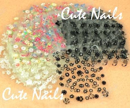 100 Kärtchen Ongle avec stickers Decals Sticker – Bunter Mix – Fleurs décoratifs Papillons fioriture Tribals cœurs étoiles – Cute Nails