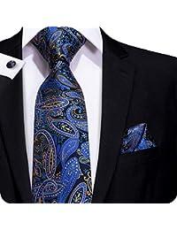 Ensemble Hi-tie avec cravate, pochette et boutons de manchette bleu marine  classique, 2d0f837598c