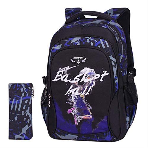 QINGT Schultasche Schultaschen Wasserdichter Rucksack Für Jugendliche Jungen Schulrucksack Coole Basketball Ultra Light Burden SchuleKobe Big (Star Rucksack Wars Roller)