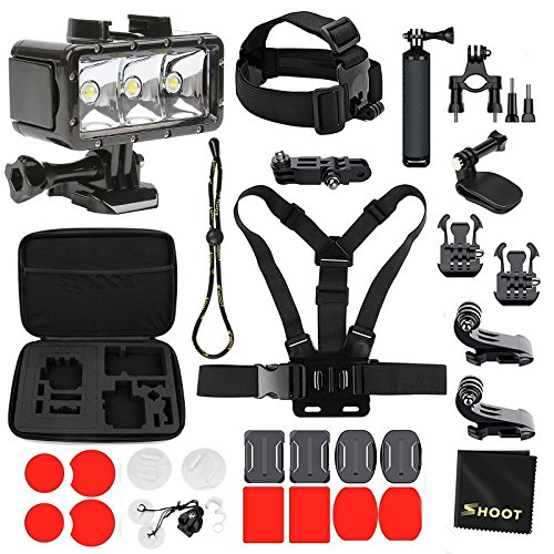 Galleria fotografica SHOOT Kit accessori Outdoor Travel Equipment per Gopro Hero 6 / Hero 5/4/3 + / 3/2/1 Impermeabile Diving Light + Storage Case + Floaty Bar + Head Belt + Chest Belt