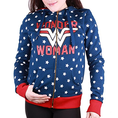 Sweat Zippe Wonder Woman - Multi Stars Bleu Femme