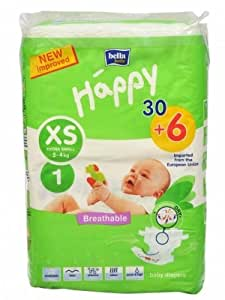 Bella Baby Happy Diapers Extra Small 30+6 Pcs Free