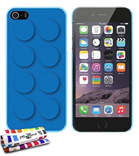 Ultraflache weiche Schutzhülle APPLE IPHONE 5S / IPHONE SE [Blue brick] [Lila] von MUZZANO + STIFT und MICROFASERTUCH MUZZANO® GRATIS - Das ULTIMATIVE, ELEGANTE UND LANGLEBIGE Schutz-Case für Ihr APPL Lagunenblau