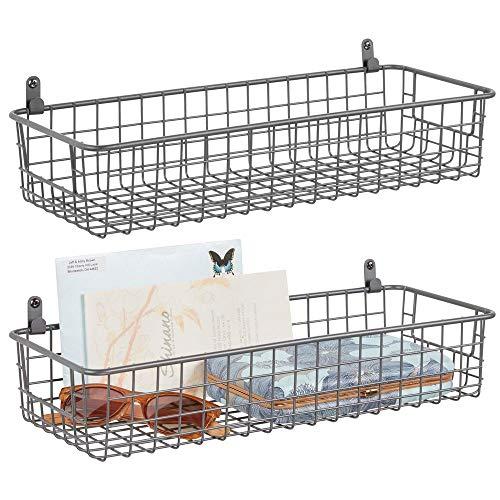 mDesign 2er-Set Wandregal aus Metall - kleiner Ablagekorb für Flur, Schlafzimmer und andere Räume - Organizer für Briefe, Geldbörsen, Sonnenbrillen oder Badaccessoires - grau