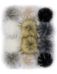 Dr Nezix BRICOLAGE 12 pcs Faux Renard Fourrure Pompon Boule Mélange Couleurs pour Chapeaux Chaussures Foulards Sac Charmes Accessoires (Couleurs de Mélange)