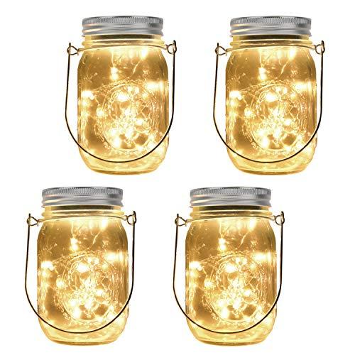 MoKo Bottle String Light, [4 Pack] Solar Powered Mason Jar Light Set 20 LED Waterproof Battery Powered Fairy Glass Bottle Light with Hangers for Outdoor Garden Yard Parties Bedroom Decor - Warm White