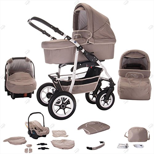 Bebebi | Modell Bellami | Hartgummireifen in Weiß | 3 in 1 Kombi Kinderwagen | Farbe: Bellataupe