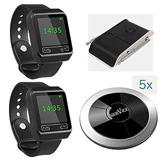 Kellnerruf Set: 5X Wasserdichte Knöpfe APE310 + 2X Wasserdichte Armbanduhr Empfänger APE6800 + Zwischenverstärker