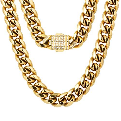 KRKC&CO 12mm Panzerkette 18K Gold beschichtet Cuban Link Chains mit Iced Out Verschluss Edelstahl Panzerkette 18K Gold Halskette für Herren Cuban Chain Gold Männer Hip Hop Halskette Größe 46 51 61cm