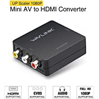 RCA a HDMI convertidor,Wavlink 1080p 3RCA a HDMI CVBS AV Compuesto Video Audio Adaptador con USB Charge Cable apoyar 1080P para PC Laptop Xbox PS4 PS3 TV STB VHS VCR Camera DVD [Negro]
