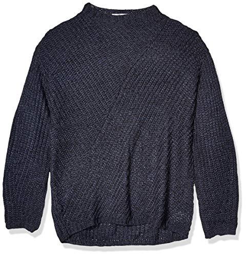 Knit Mock Neck Pullover (William Rast Damen Robbin Oversize Mock Neck Sweater Pullover, Marineblau/schwarz, Groß)