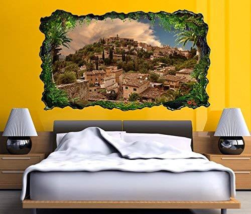 3D Pegatina Pared Mallorca España - Místico Spirit - The Hill Of The Picturesque And Histórico Village Deia Autoadhesiva Mural Adhesivo de Pared Salón Pared Adhesivo 11O752 - ca. 140cmx82cm