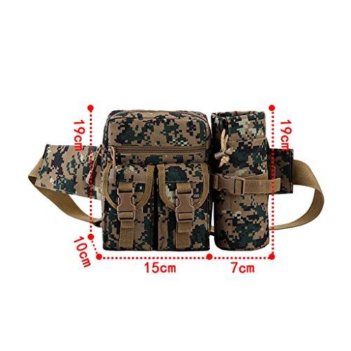 UEK Hüfttasche Multi-Function Gürteltasche Wasserabweisende Bauchtasche Flache Taille Tasche mit Flaschenhalter zum Sport und Reisen E