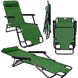 Tumbona Plegable | Cómoda Silla de Playa 153 cm + Reposacabezas + Reposapiernas + Respaldo Reclinable | Verde