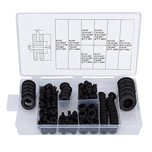 Gummitülle,Hakkin,180 teilig 18 verschiedene Größen Gummitülle Sortiment Set Elektrischer Leiter Dichtungring Set für Draht, Stecker und Kabel