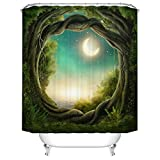 Qilerongrong Badezimmer Duschvorhang, Top Qualität Anti-Schimmel Duschvorhänge Digitaldruck inkl. 12 Duschvorhangringe, 180x200cm (Enchanted Wald)