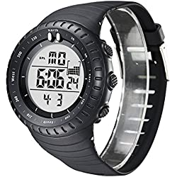 Mens Black Digital Date Day Alarm Sport Rubber Band Wrist Quartz Watch