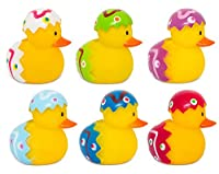 Happy Easter 6 Pack Rubber Bath Ducks Toy Eggs