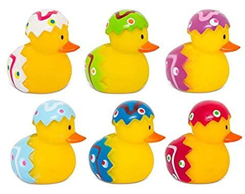 6 x Mini Novelty Easter Egg Rubber Duck Bath Toys Fun Kids Infant Set In Clear Plastic Box