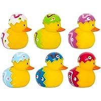 6 x mini novedad de huevos de Pascua de goma de pato baño juguetes de diversión niños infantes conjunto en caja de regalo