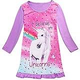 Baby Kind Mädchen Langarm Einhorn Schlaf Rüschen Kleid Nachthemd Pyjamas (Lila, 4-5 Year)
