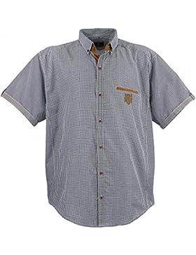 1129 Blau-Weiss-kariert (kleine Karos)Übergröße Lavecchia Herren kurzarm Hemd Gr. 3-7 XL