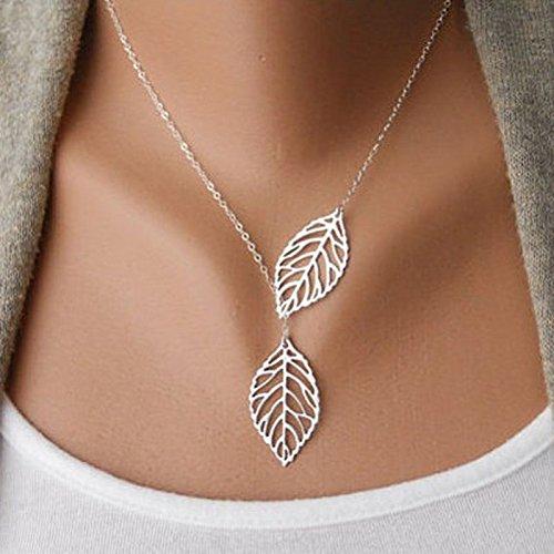 LCLrute Halskette Damen 1PC Frauen Mädchen Einfache Metalldoppeltes Blatt Hängende Legierungs Choker Halskette (Silber)