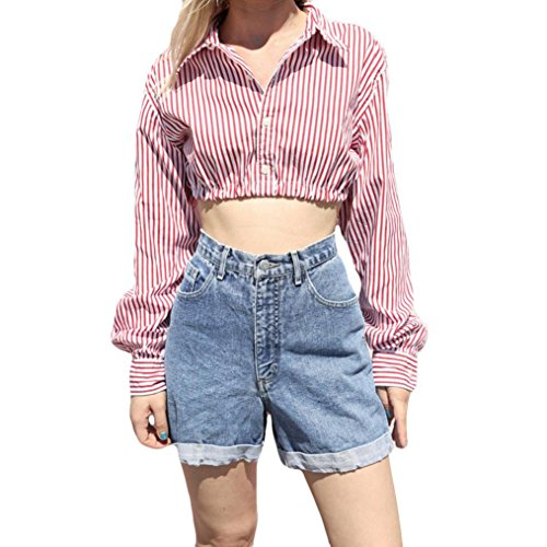 Yvelands Frauen Casual Cuffed Langarm V-Ausschnitt Button up Gestreiftes Hemd Bluse Tops Rosa