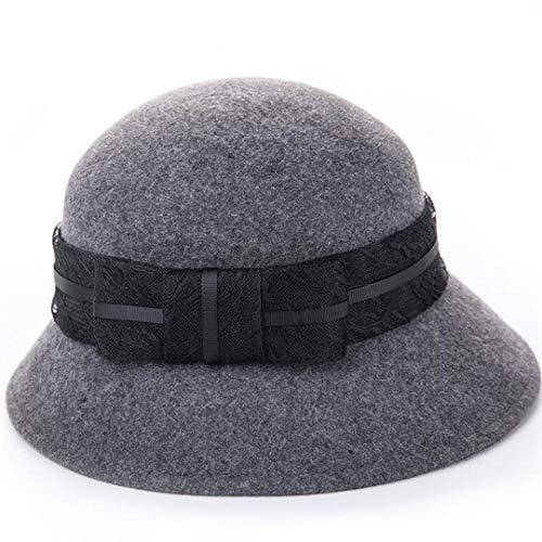 GOUNURE Damen Vintage stilvolle Fedora Hats Floppy Elegante Cloche Bucket Hats Zylinder Bowler Cap mit Lace Bow Band -