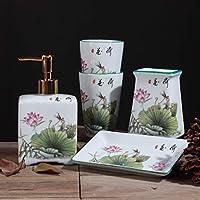 XiYunHan Cerámica Simple Creativa Conjunto de baño de Cinco Piezas Pareja Recién Casado Conjunto de Lavado