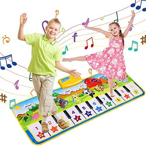 VEGKEY Piano Matte,Klaviermatte Musikmatte 8 Instrumente Sounds Klaviertastatur Spielzeug Musik Matte Keyboard Matten Piano Matte Tanzmatten für Kinder & Baby ( 100*36 cm)