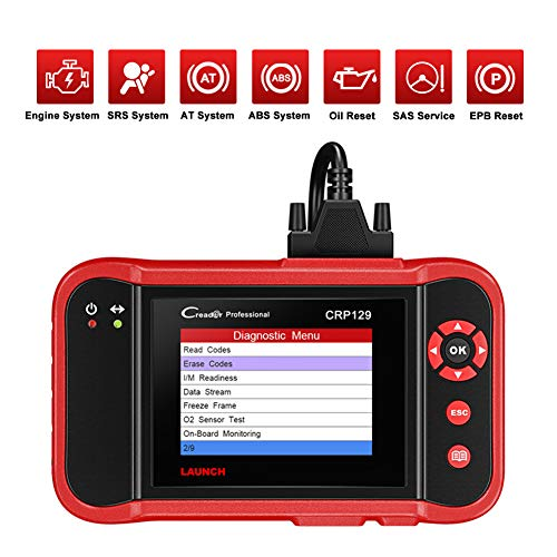 LAUNCH CRP129 Appareil Diagnostic Auto en Français Outil OBD2 Multimarque Lecteur de Code pour Moteur / AT / ABS / SRS / EPB / SAS