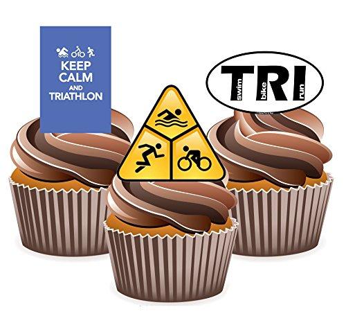 Triathlon Kuchen Dekorationen–12Essbar Stand-up Cupcake Topper
